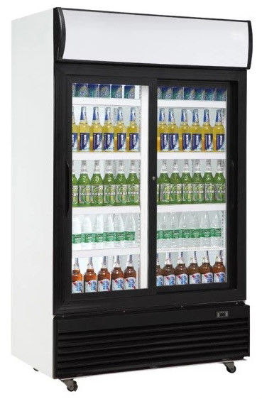 610L upright double sliding door auto frost fan cooling display beverage cooler/glass door chiller/beverage showcase