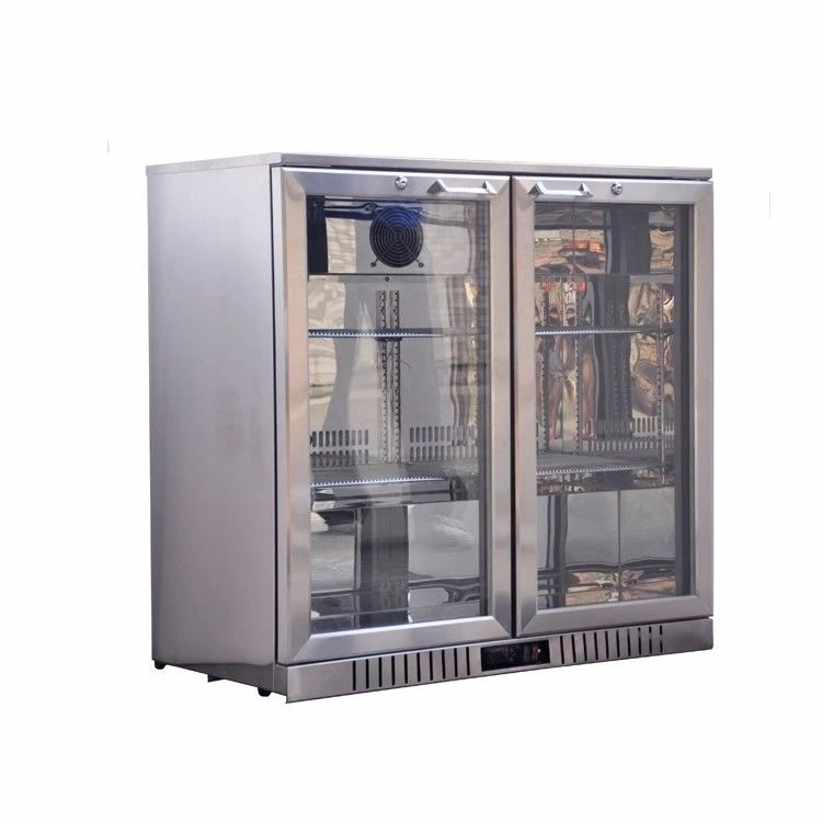 198L Double Doors Stainless Steel Back Bar Cooler Auto Defrost Type With Easy Cleaning Gasket